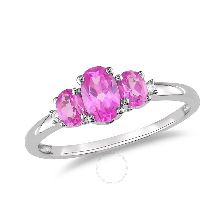 0.02 CT Diamond TW And 1 1/10 CT TGW Created Pink Sapphire 3 Stone ...