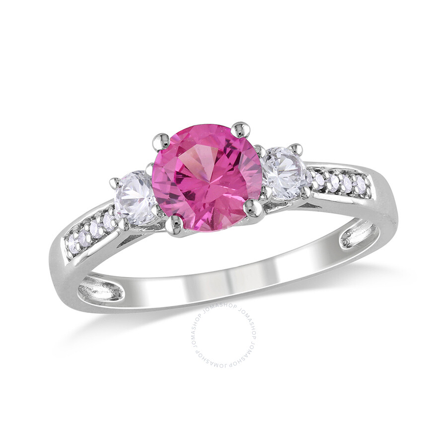 0.05 CT  Diamond TW And 1 3/8 CT TGW Created Pink Sapphire Created White Sapphire 3 Stone Ring  10k