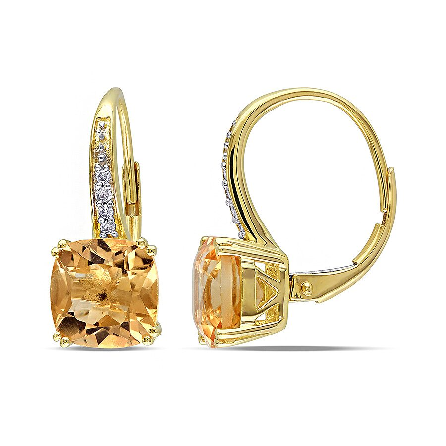 Amour 0.06 CT  Diamond TW And 4 1/6 CT TGW Citrine LeverBack Earrings 10k Ye..