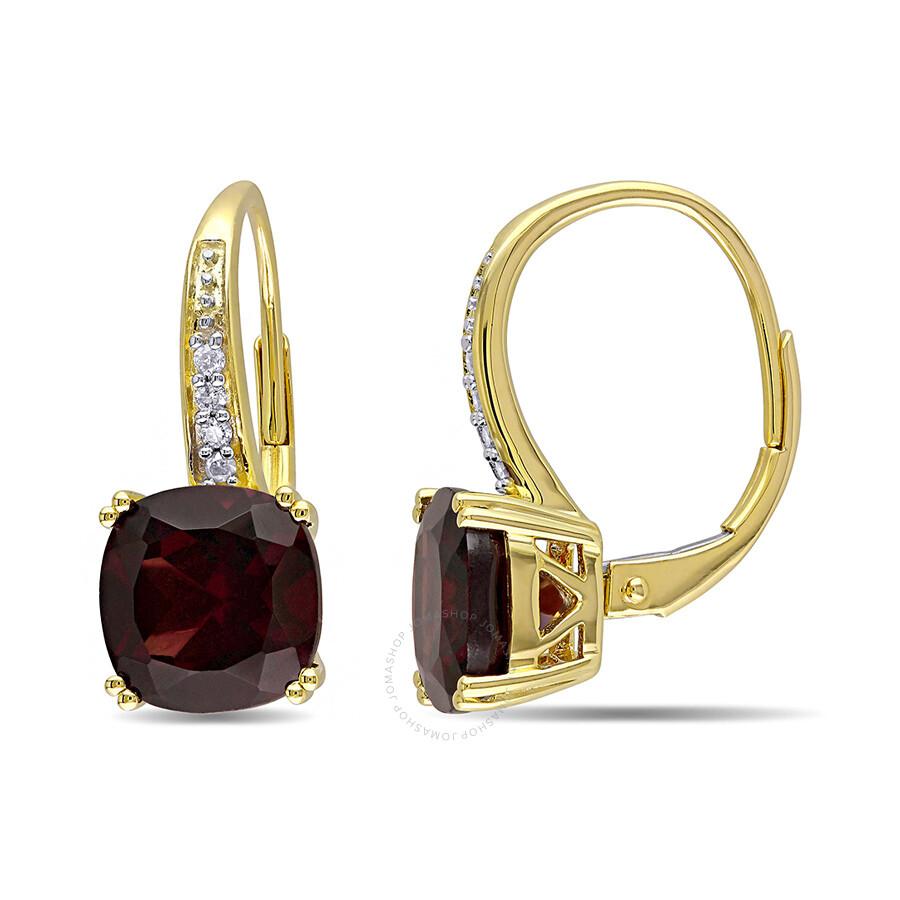 0.06 CT  Diamond TW And 6 1/6 CT TGW Garnet LeverBack Earrings 10k Yellow Go..