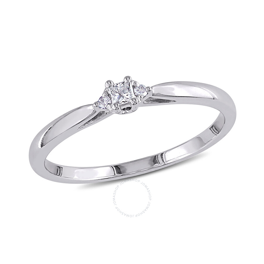 0.07 CT Princess and Round Diamonds TW Engagement Ring 10k White Gold GH I2;I3 Size 7