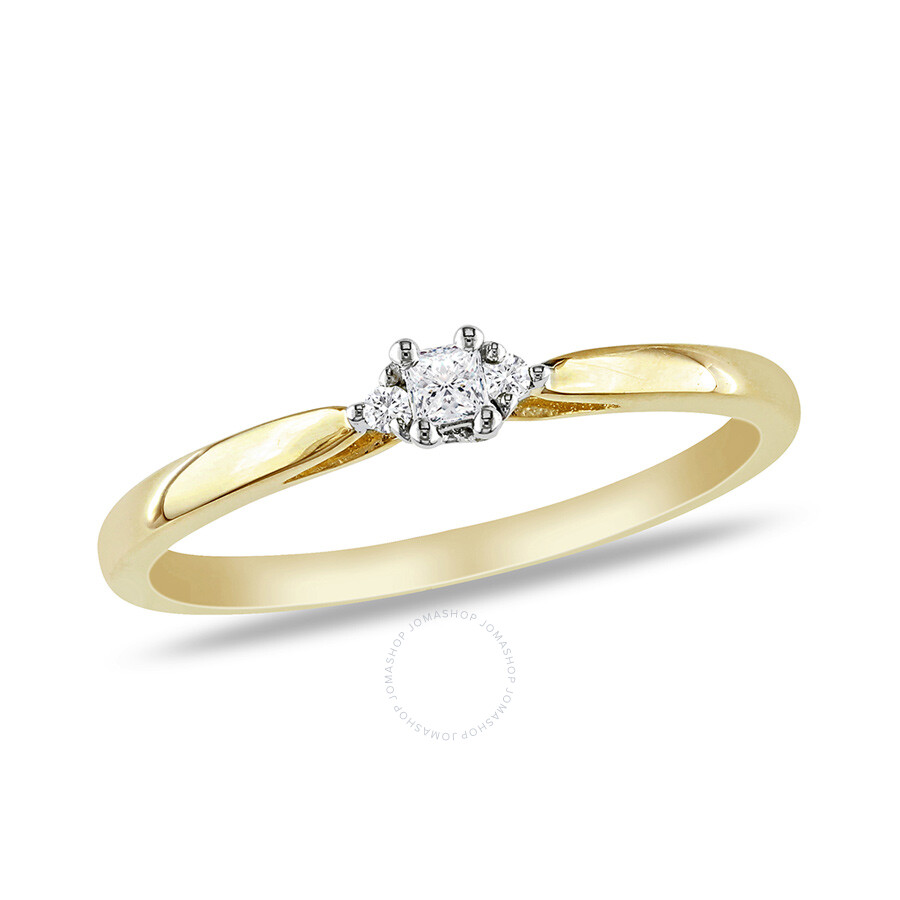 0.07 CT Princess and Round Diamonds TW Engagement Ring 10k White Yellow Gold GH I2;I3 Size 5