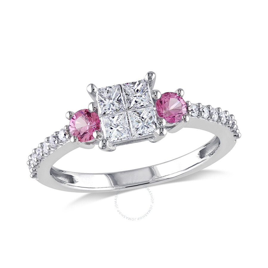 0.54 CT Princess and Round Diamonds TW And 1/3 CT TGW Pink Sapphire Engagement Ring  14k White Gold