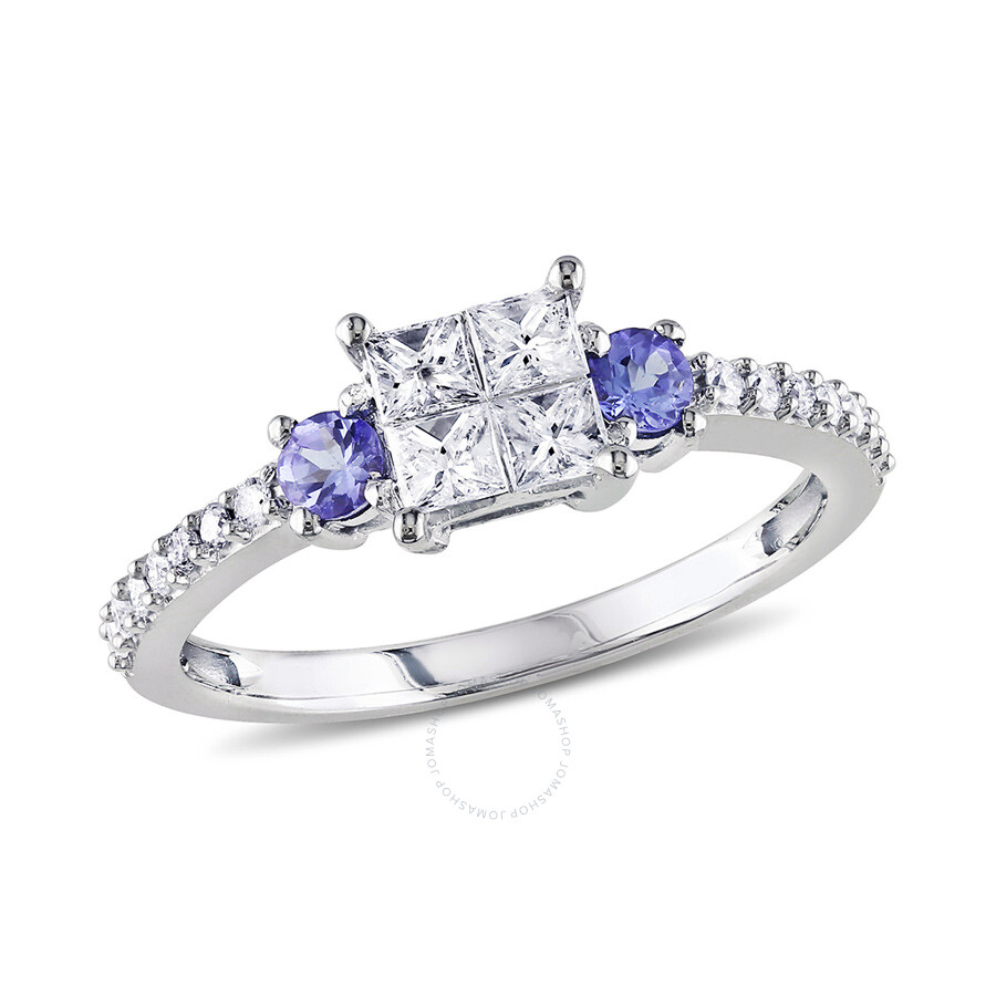 0.54 CT Princess and Round Diamonds TW And 1/5 CT TGW Tanzanite Engagement Ring  14k White Gold GH I