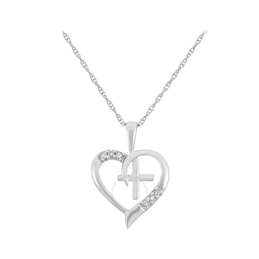 0.04 cttw 10kt White Gold Diamond Heart with Cross Necklace