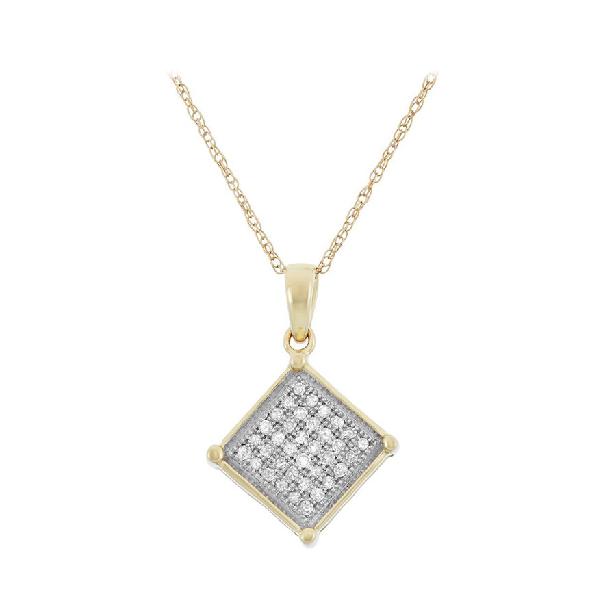 0.13 cttw 10kt Yellow Gold Diamond Square Necklace