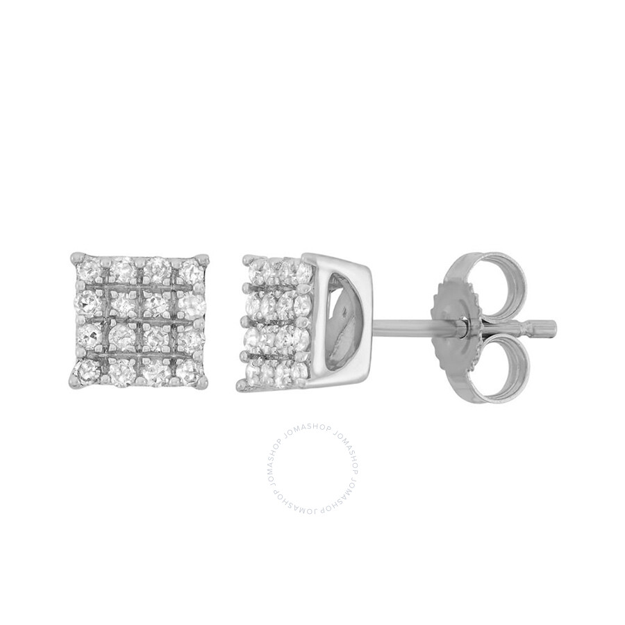 0.20 cttw 10k White Gold Diamond Square Earring (H-I, I1-I2)