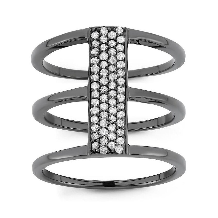 0.33 cttw Sterling Silver, Black Rhodium White Diamond Cocktail Ring Size 6