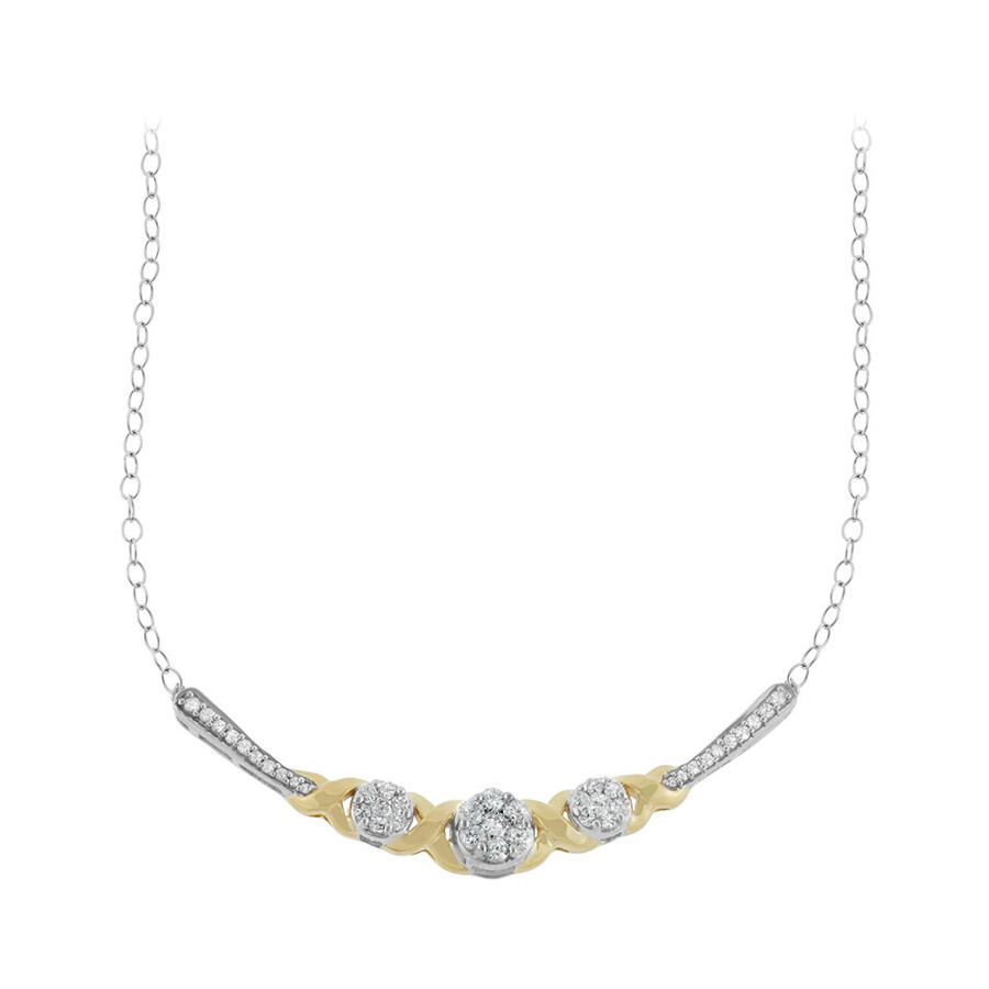 0.50 cttw Two Tone Diamond Necklace in 10k Gold