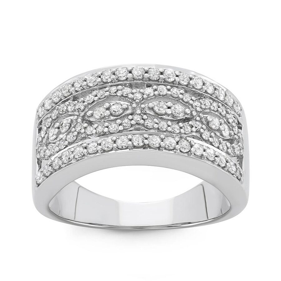0.80 cttw 10kt White Gold Diamond Ring (H-I, I1-I2) Size 6