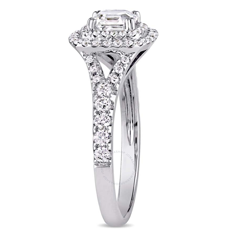 with shank solitaire in rounded prong gold asscher ring engagement diamond cut white ascher