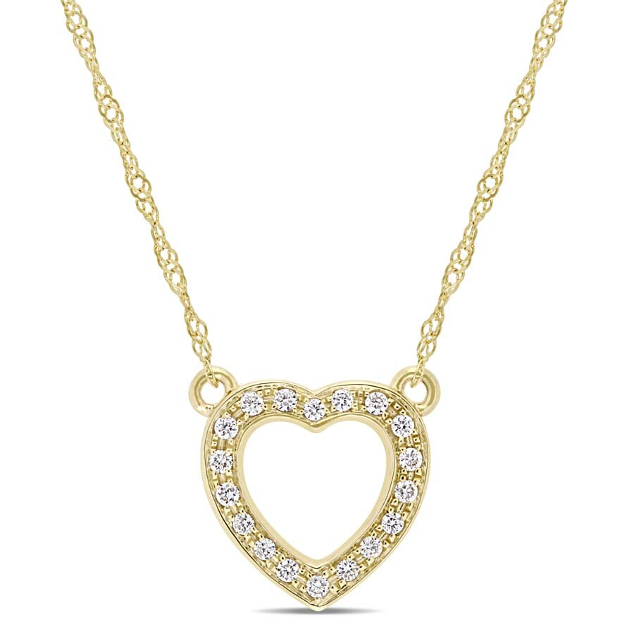 1/10 CT TW Diamond Heart Necklace in 14k Yellow Gold JMS004859