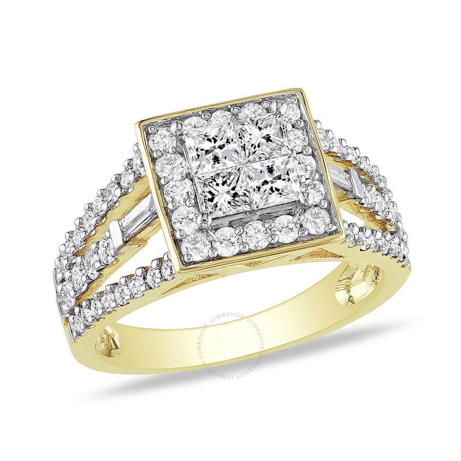 1 1/2 CT  Multi-shape Diamonds TW Engagement Ring 14k Yellow Gold GH I2;I3 S..