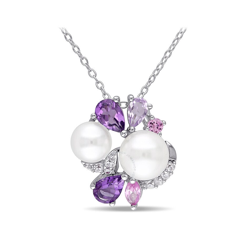 1 1/3 CT TGW Created Sapphire Amethyst Created Pink Sapphire Rose de France And White Freshwater Cul