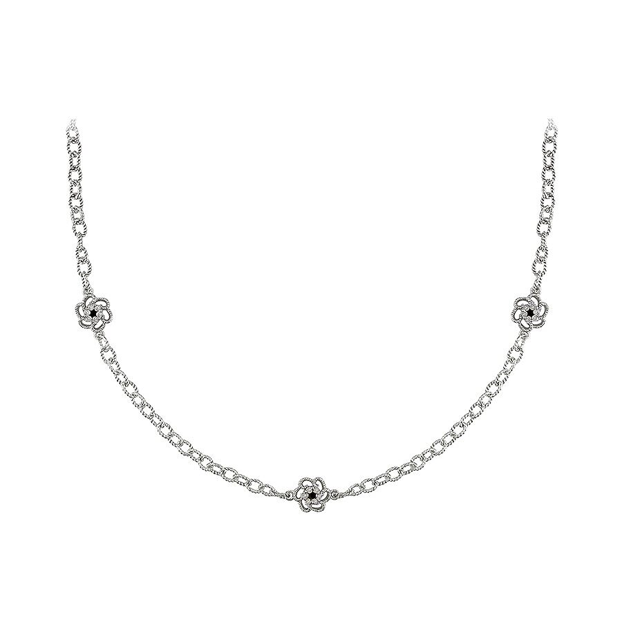 1/2 CT Black and White Diamond TW Necklace With Chain Silver GH I3 Black Rhodium Plated Length (inch