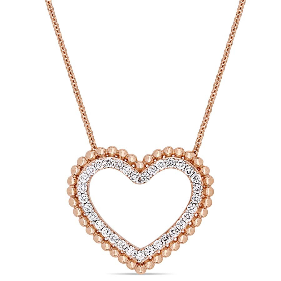 1/2 CT Diamond TW Fashion Pendant With Chain 14k Pink Gold GH I1 JMS004864