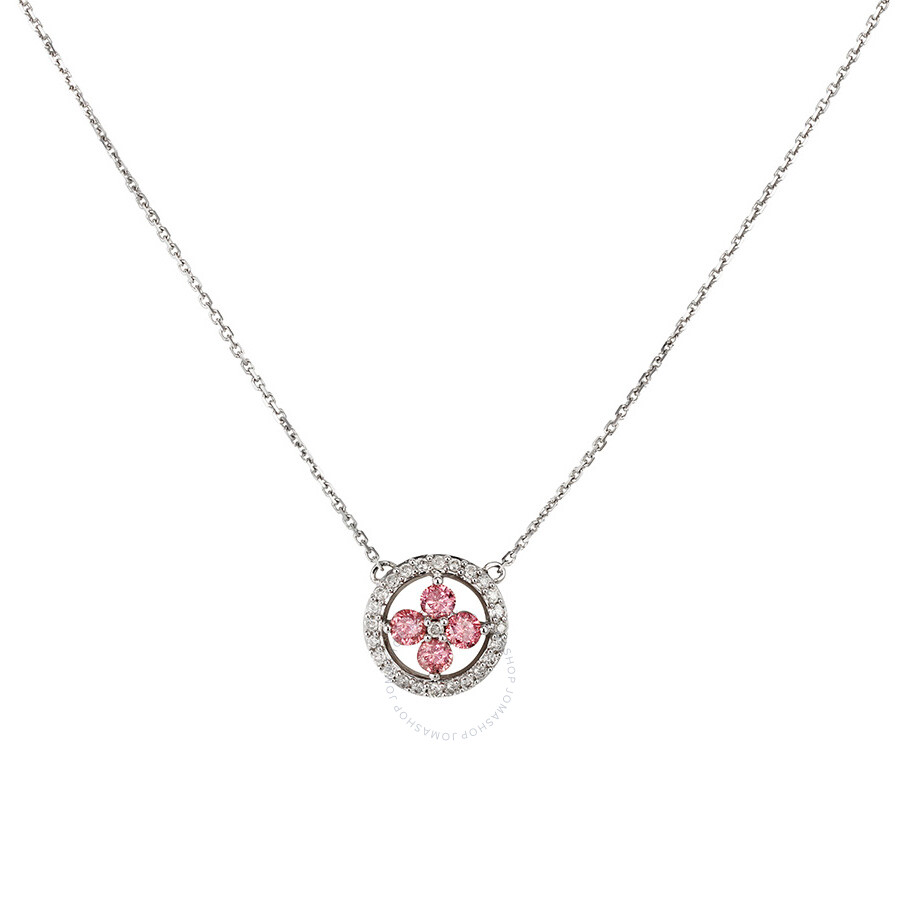 1/2 CT Pink and White Diamond TW Necklace With Chain 14k White Gold GH I1;I2 Length (inches): 16