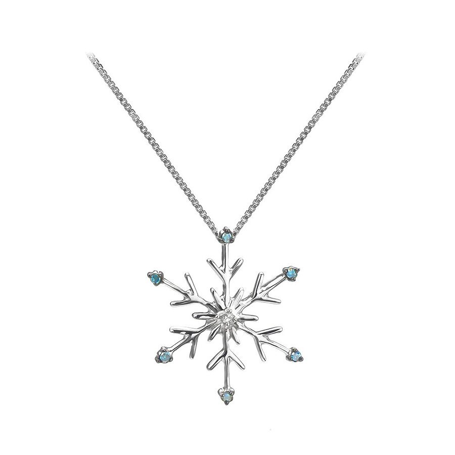1/20 cttw Blue and White Diamond Snowflake Pendant and Sterling Silver Chain (Blue,H-I, I1-12)