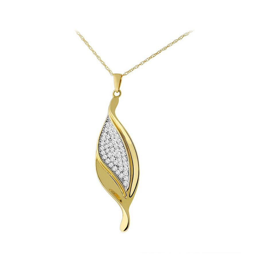 1/3cttw Diamond Leaf Pendant and Chain in 10k Yellow Gold