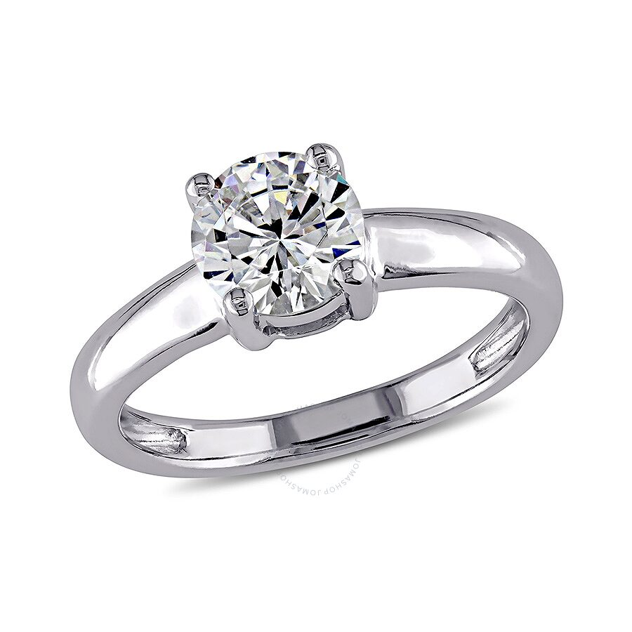 1 4/5 CT TGW White Cubic Zirconia Solitaire Ring 14k White Gold Size 7