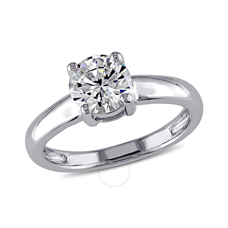 1 4/5 CT TGW White Cubic Zirconia Solitaire Ring 14k White Gold Size 8