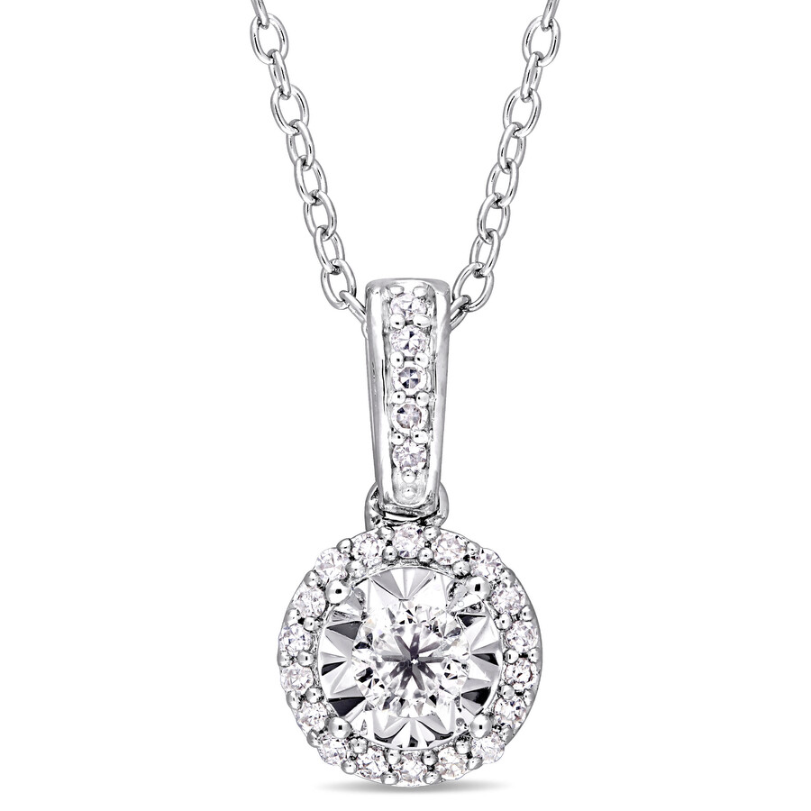 15 ct tw diamond halo pendant with chain in sterling silver 15 ct tw diamond halo pendant with chain in sterling silver jms004477 aloadofball Gallery