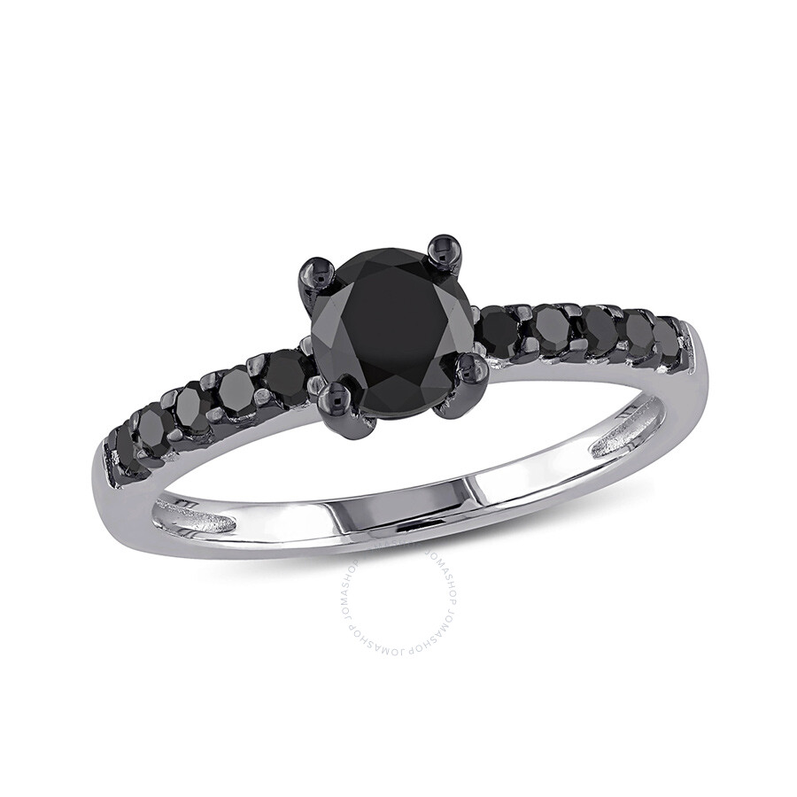 1 CT Black  Diamond TW Engagement Ring  Silver  Black Rhodium Plated Size 10