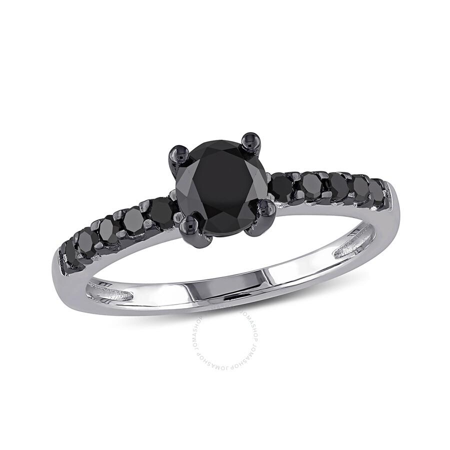 1 CT Black Diamond TW Engagement Ring Silver Black Rhodium Plated Size 10