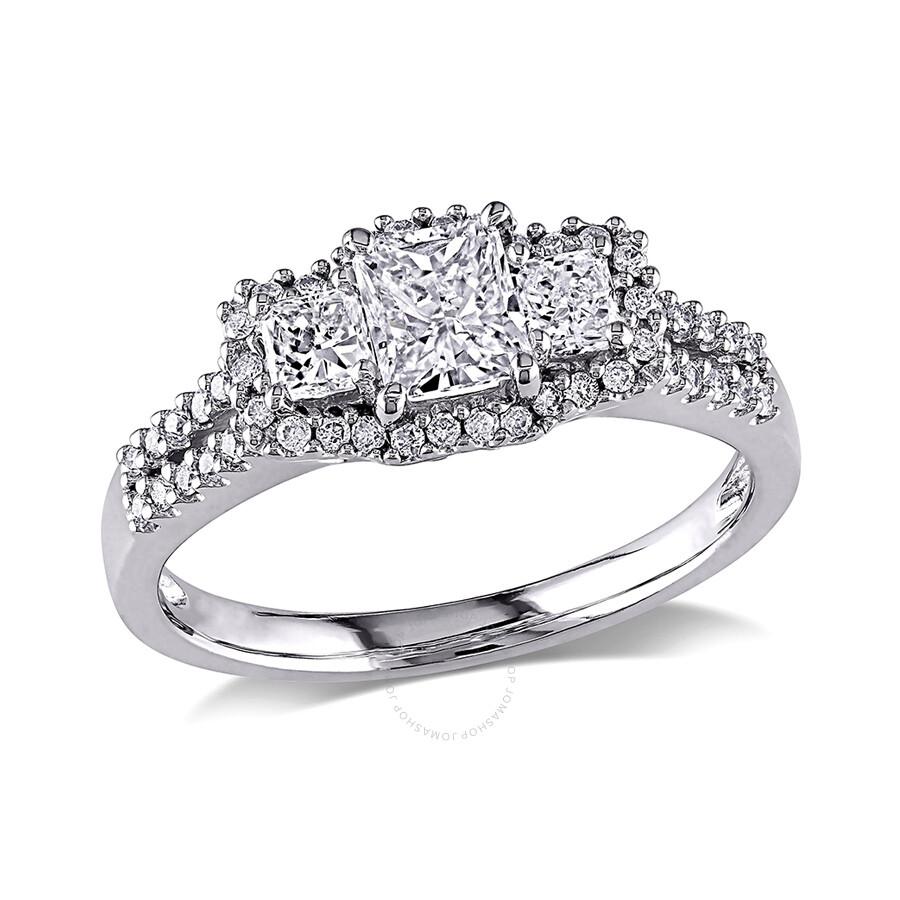 Radiant Reflections Diamond Ring 1 Ct Tw 14k White Gold: 1 CT Radiant And Round Diamonds TW Fashion Ring 14k White