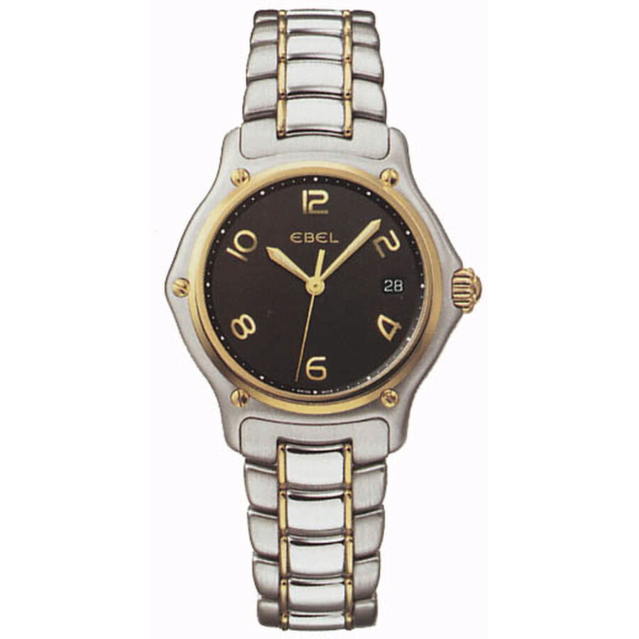 Ebel Black Dial Two-Tone Stainless Steel Quartz Ladies Watch 1087221-15665P