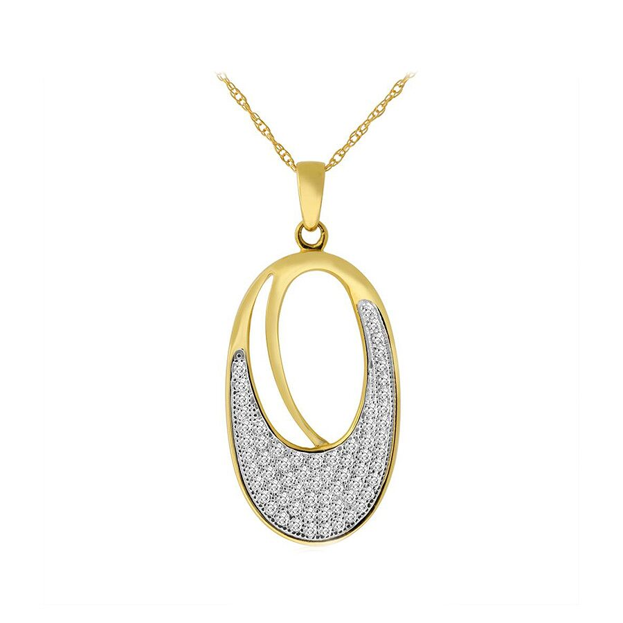 10k Yellow Gold 1/3cttw Oval Shape Pave Set Diamond Pendant and Chain