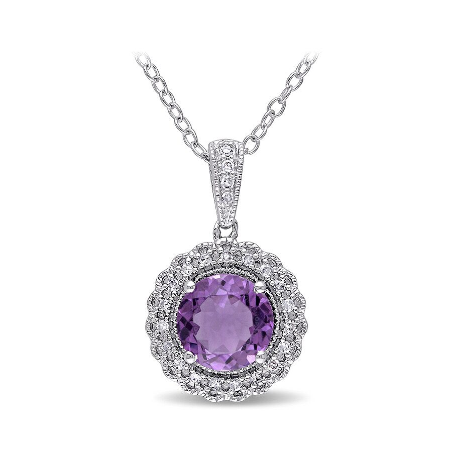 1/10 CT  Diamond TW And 1 1/3 CT TGW Amethyst Fashion Pendant With Silver Ch..