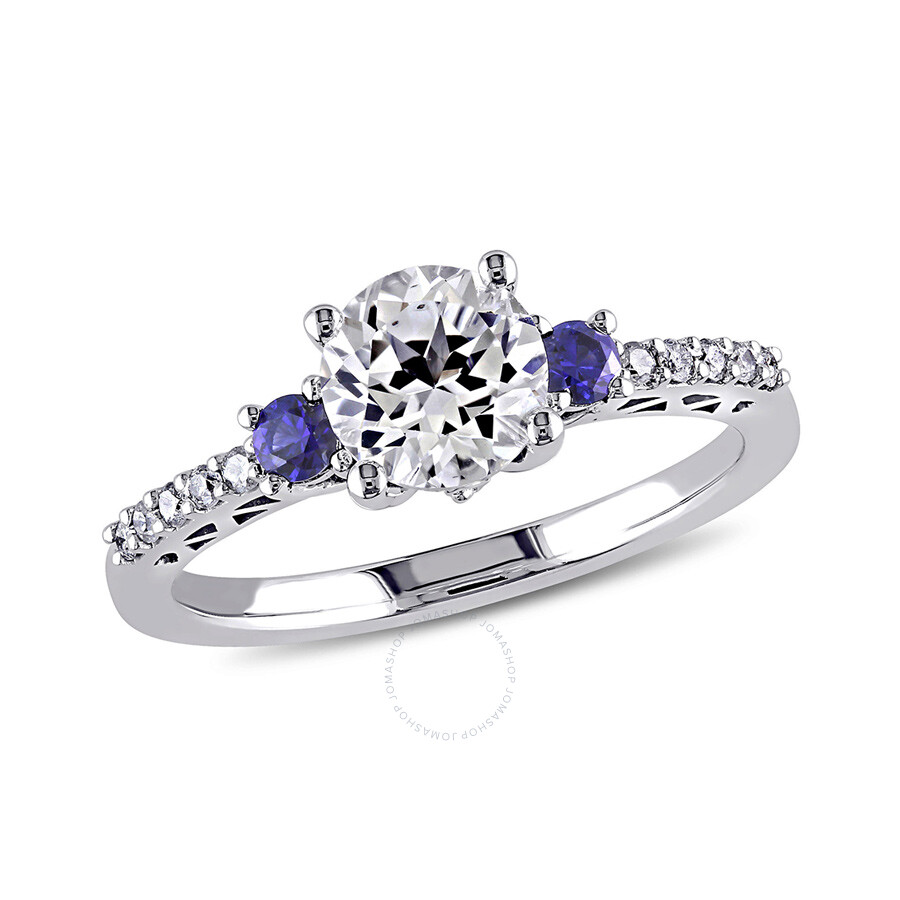 1/10 CT  Diamond TW And 1 3/5 CT TGW Created White Sapphire Created Blue Sapphire Fashion Ring  10k