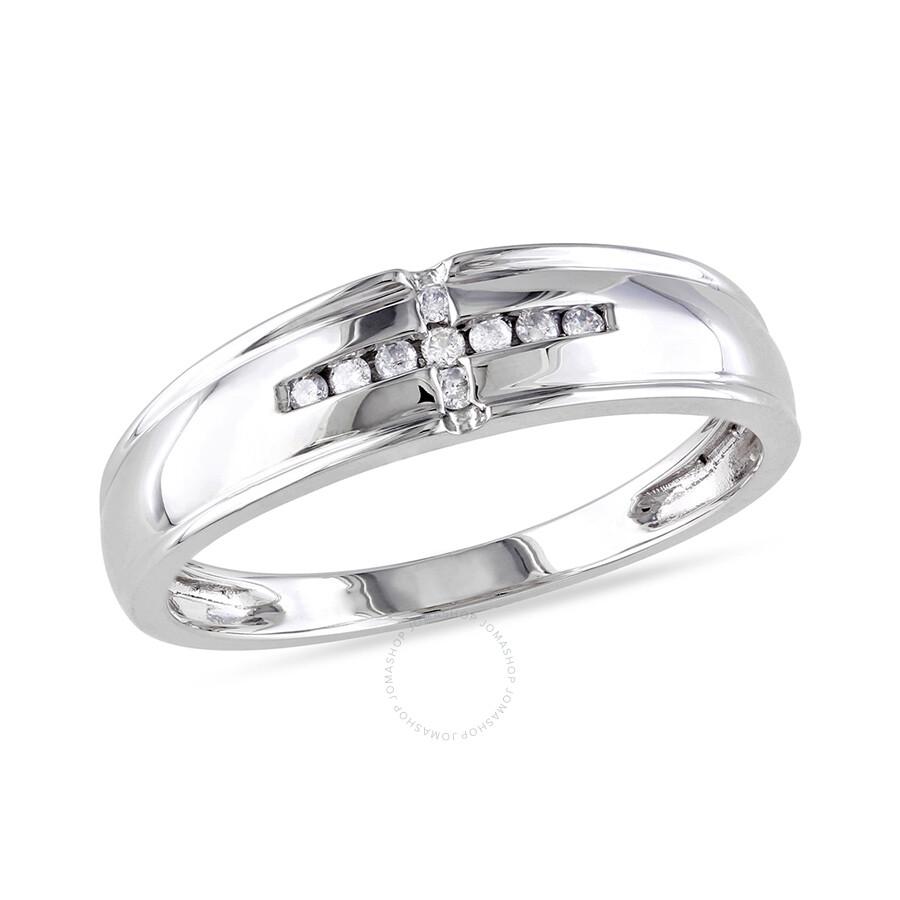 1/10 CT Â Diamond TW Wedding Band Ring 10k White Gold GH I2;I3 Size 8