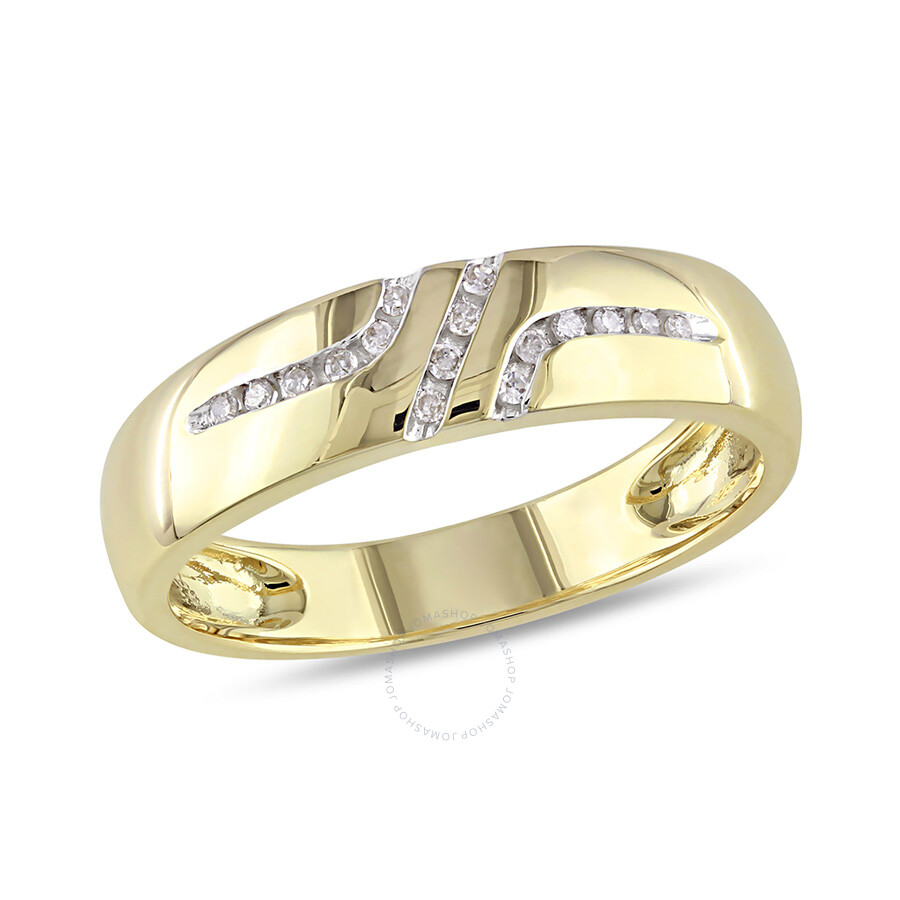 1/10 CT Â Diamond TW Wedding Band Ring 10k Yellow Gold GH I2;I3 Size 9