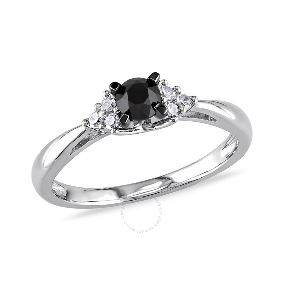 1/2 CT Black and White  Diamond TW Engagement Ring Silver GH I3 Black Rhodium Plated Size 7