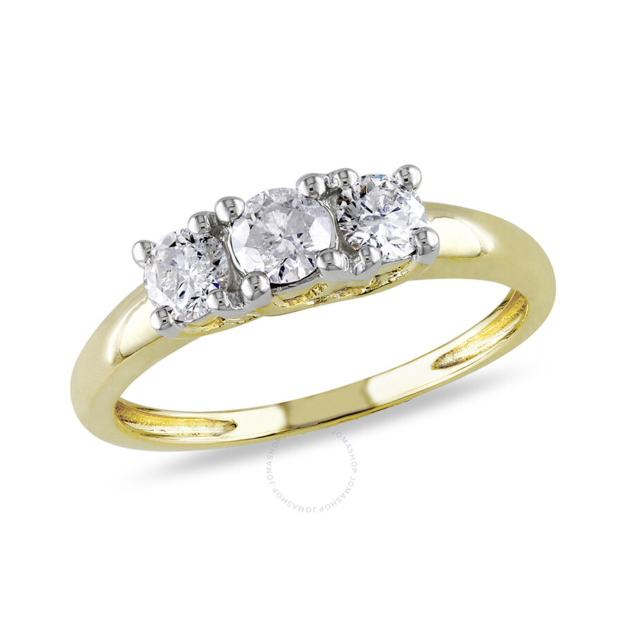 1/2 CT  Diamond TW 3 Stone Ring  14k Yellow Gold GH I2;I3 IGL Certification ..