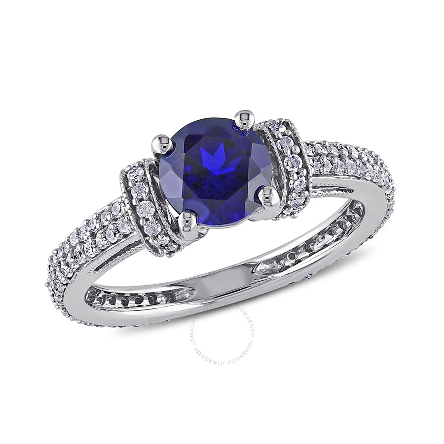 1/2 CT Â Diamond TW And 1 1/4 CT TGW Created Blue Sapphire Engagement Ring 10k White Gold GH I2;I3 Si