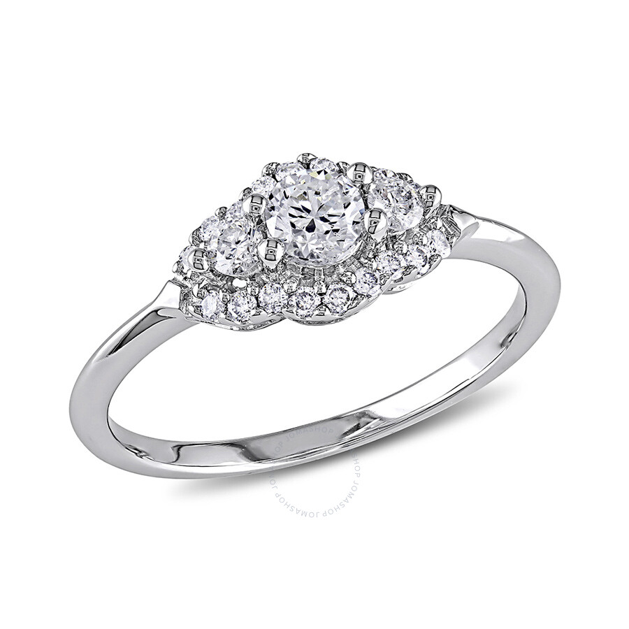 1/2 CT  Diamond TW Engagement Ring  14k White Gold GH I1;I2 IGL Certificatio..