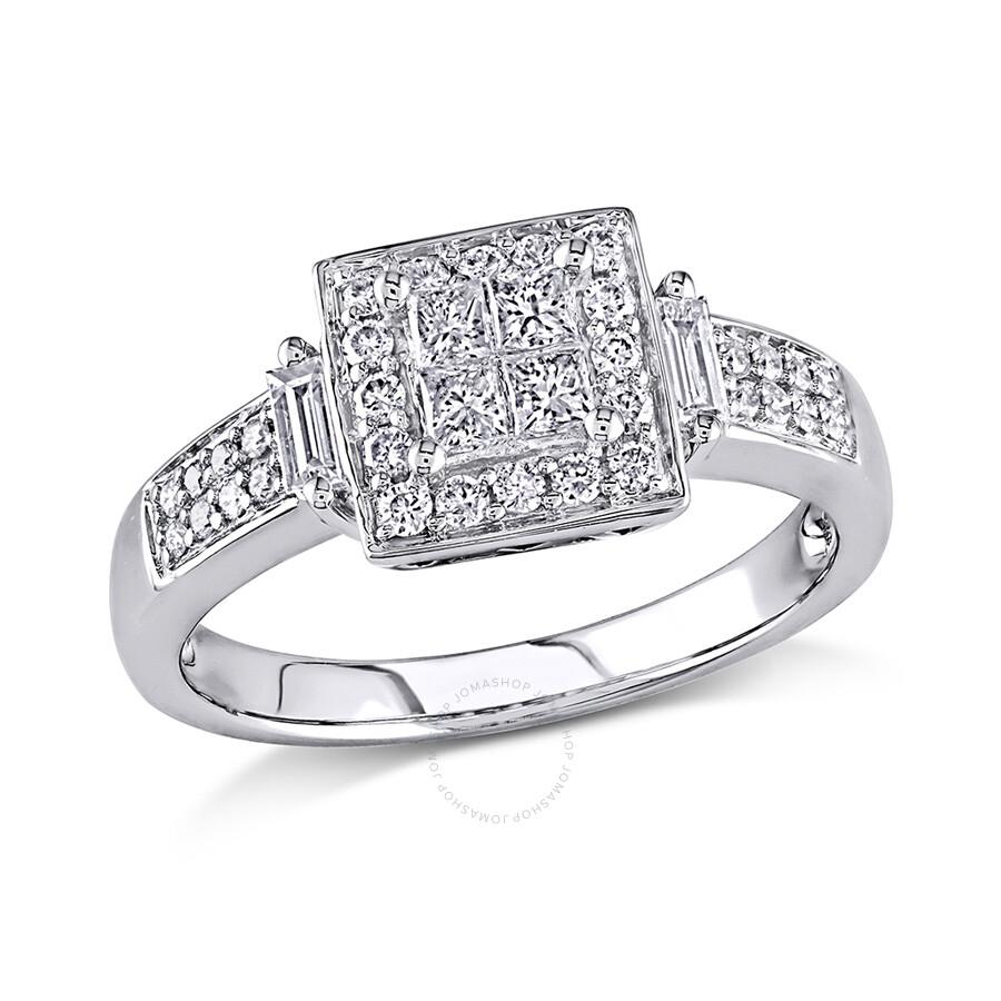 1/2 CT Multi-shape Diamonds TW Engagement Ring 10k White Gold GH I2;I3 Size 5