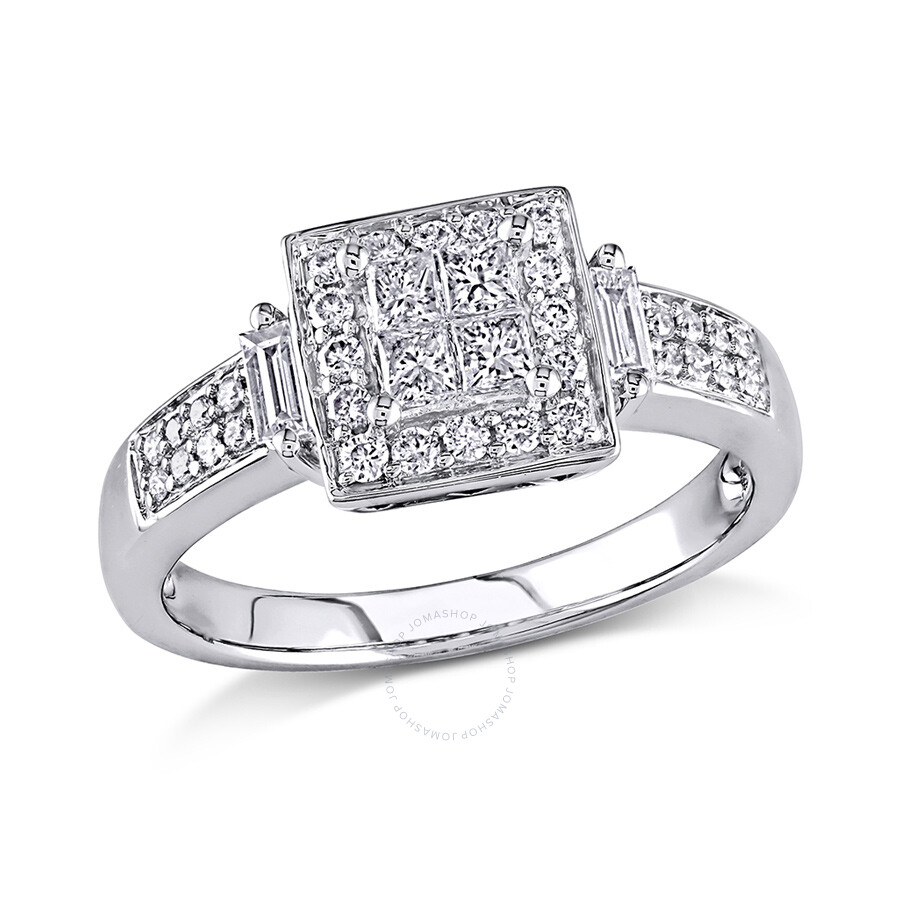 1/2 CT  Multi-shape Diamonds TW Engagement Ring  10k White Gold GH I2;I3 Size 7