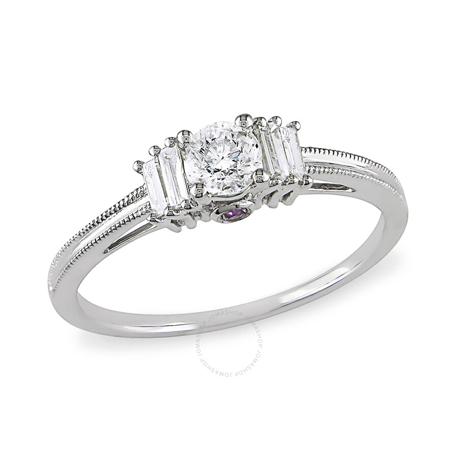 1/2 CT Round and Parallel Baguette Diamonds TW And 0.06 CT TGW Pink Sapphire..
