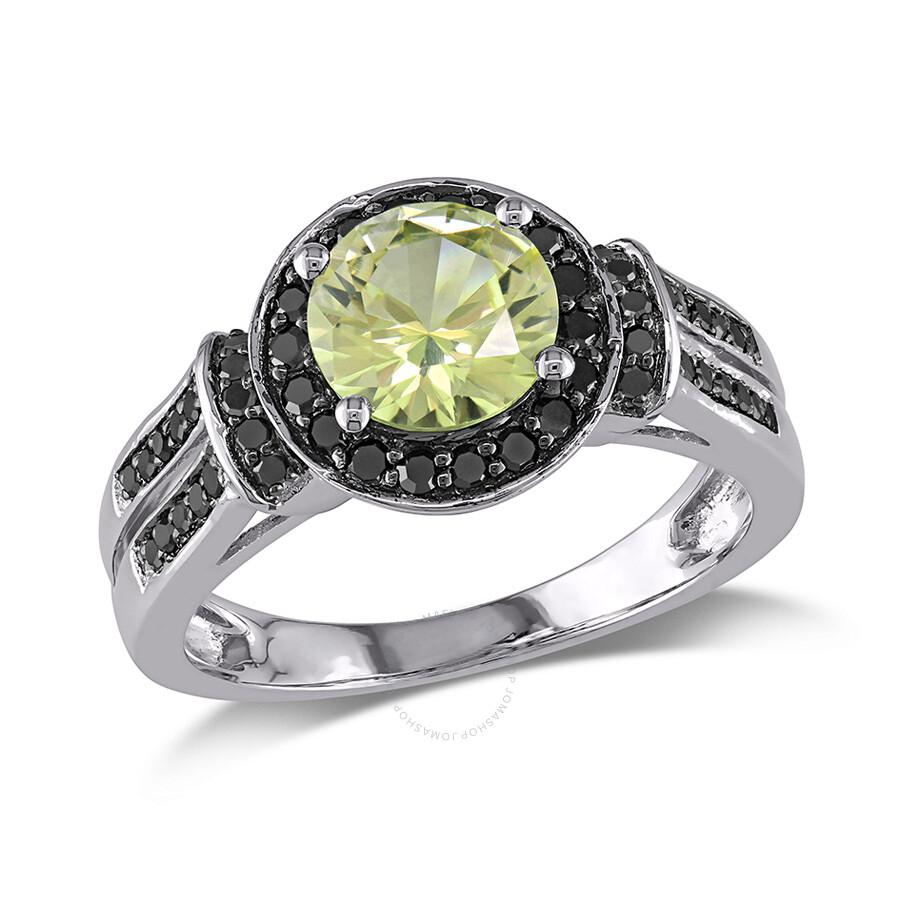 1/3 CT Black Diamond TW And 1 5/8 CT TGW Created Yellow Sapphire - Lemon Fashion Ring 10k White Go