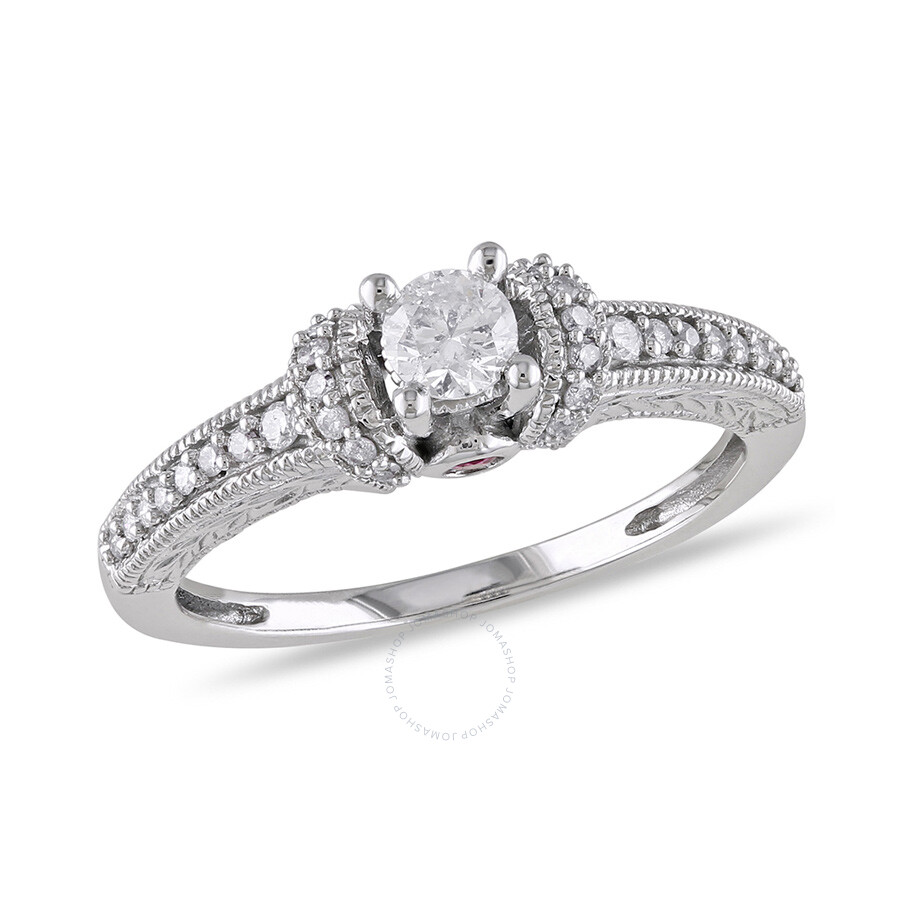 1/3 CT  Diamond TW And 0.06 CT TGW Pink Sapphire Engagement Ring  14k White Gold GH I2;I3 Size 9