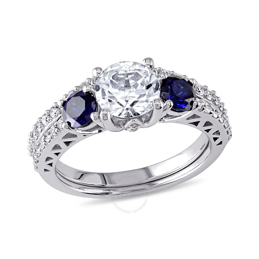 1/3 CT  Diamond TW And 2 CT TGW Created White Sapphire Created Blue Sapphire Bridal Set Ring  10k Wh