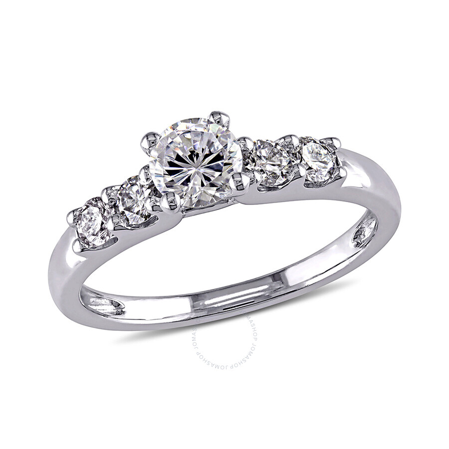 1/3 CT  Diamond TW And 4/5 CT TGW White Cubic Zirconia Engagement Ring  14k White Gold GH I1 Size 7
