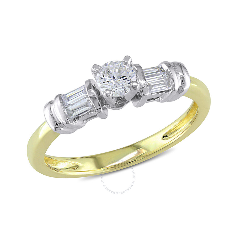 1/3 CT Round and Parallel Baguette Diamonds TW Engagement Ring 10k White Yellow Gold GH I2;I3 Size 7