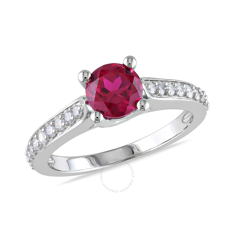 1/4 CT  Diamond TW And 1 CT TGW Created Ruby Fashion Ring  10k White Gold GH I1;I2 Size 8