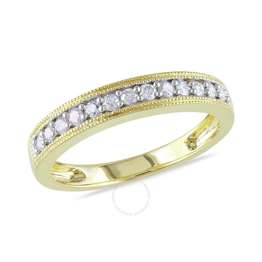 1/4 CT Diamond TW Wedding Band Ring 10k Yellow Gold GH I2;I3 Size 9
