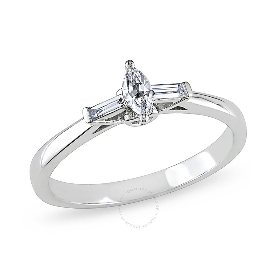 1/4 CT Marquise and Parallel Baguette Diamonds TW Engagement Ring 10k White Gold GH I2;I3 Size 8